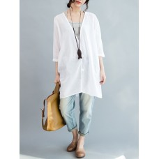 Loose Women Button Solid Cotton Linen 3/4 Sleeve T-shirts
