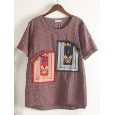 Vintage Women Butterfly Embroidered Patchwork Short Sleeve O-Neck T-Shirt