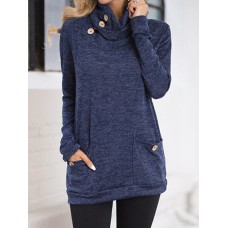 Casual Women Solid Color Long Sleeve Pocket Pile Collar Blouse